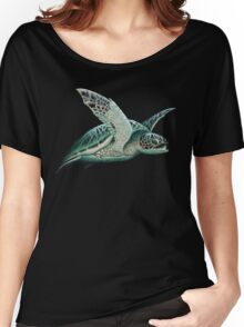 """Moonlit"" - Green Sea Turtle, Acrylic Women's Relaxed Fit T-Shirt"