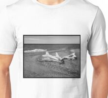 Beachscape and driftwood in monochrome Unisex T-Shirt