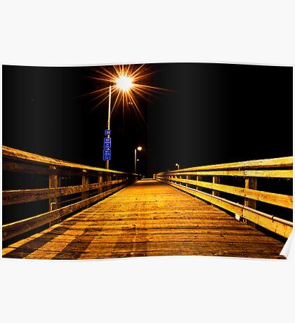 Fishing Dock at Night, Ruston Way  Poster