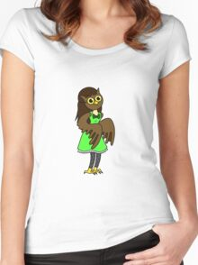 Masked Girl - Owl Women's Fitted Scoop T-Shirt