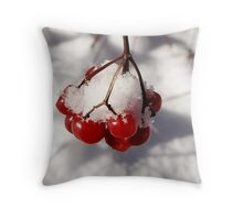 American Cranberries in Snow Throw Pillow