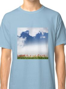 Spring tulips and cloudscape view Classic T-Shirt