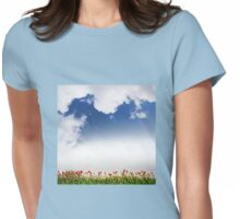 Spring tulips and cloudscape view Womens Fitted T-Shirt