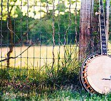 Vintage Banjo against barn fence by Jennifer Westmoreland
