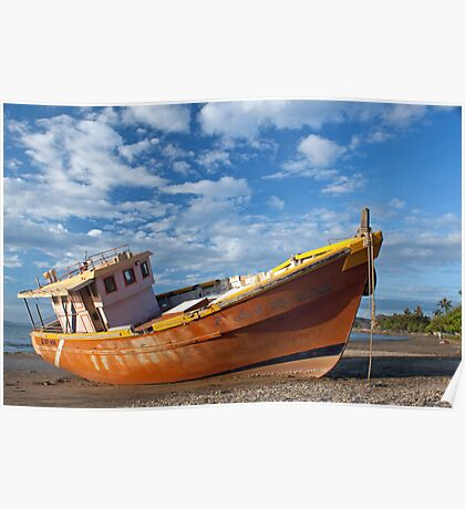 Beached boat at Dili, Timor Leste Poster