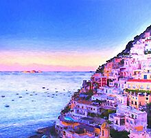 Digital Painting Of Positano Italy At Sunset by daphsam