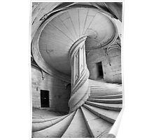 Chateau de la Rochefoucauld Stairway in B&W Poster
