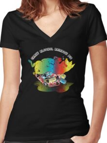 Crazy Alcohol Rainbow Pig Women's Fitted V-Neck T-Shirt