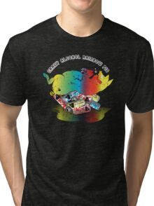 Crazy Alcohol Rainbow Pig Tri-blend T-Shirt