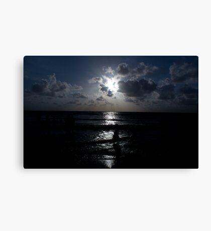 blue sunset mumbai beach Canvas Print