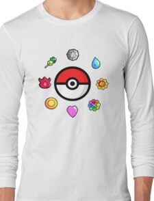Pokemon Badges, first Generation Long Sleeve T-Shirt