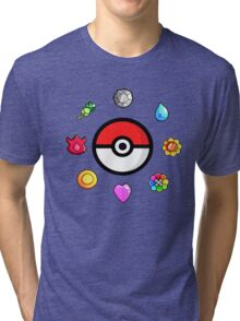 Pokemon Badges, first Generation Tri-blend T-Shirt