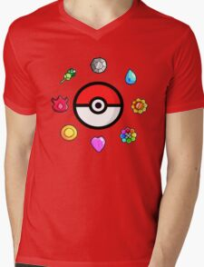 Pokemon Badges, first Generation Mens V-Neck T-Shirt