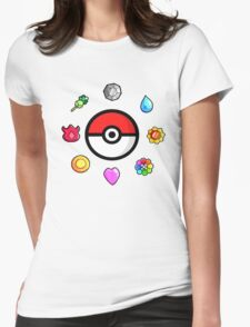 Pokemon Badges, first Generation Womens Fitted T-Shirt