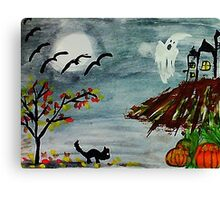 Spooky night, Halloween soon? watercolor Canvas Print