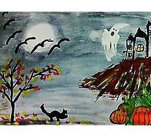 Spooky night, Halloween soon? watercolor Photographic Print