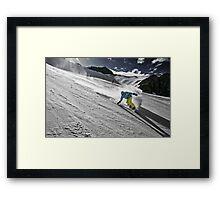 Snowboarding on Alpine slopes Framed Print