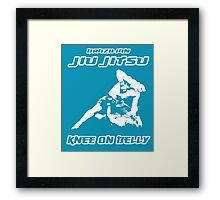 Brazilian Jiu Jitsu Knee On Belly Blue Framed Print