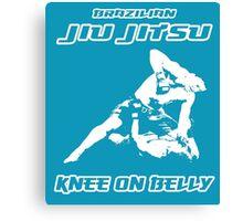 Brazilian Jiu Jitsu Knee On Belly Blue Canvas Print