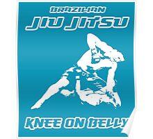 Brazilian Jiu Jitsu Knee On Belly Blue Poster