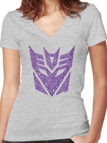 Transformers Decepticons Purple Women's Fitted V-Neck T-Shirt