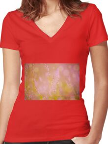 Subtle pink heather macro Women's Fitted V-Neck T-Shirt