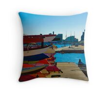 Colourful Canoes Throw Pillow