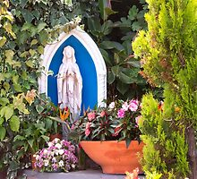 Virgin Mary With Potted Flowers by daphsam