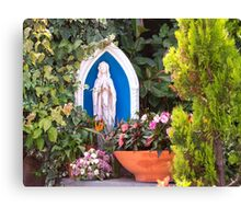 Virgin Mary With Potted Flowers Canvas Print