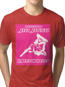 Brazilian Jiu Jitsu Knee On Belly Pink Tri-blend T-Shirt