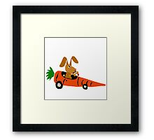 Hilarious Bunny Rabbit Driving Carrot Car Framed Print