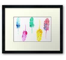 Rainbow Watercolor Feathers Framed Print
