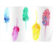 Rainbow Watercolor Feathers Poster