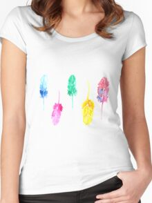Rainbow Watercolor Feathers Women's Fitted Scoop T-Shirt