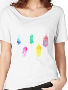 Rainbow Watercolor Feathers Women's Relaxed Fit T-Shirt