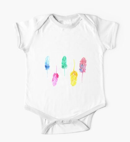 Rainbow Watercolor Feathers One Piece - Short Sleeve