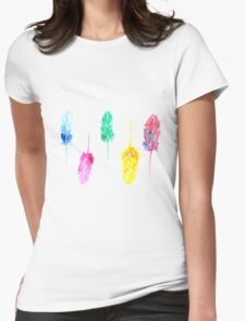 Rainbow Watercolor Feathers Womens Fitted T-Shirt