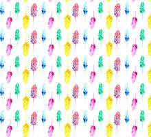 Rainbow Watercolor Feathers by sadiesavesit