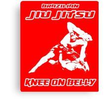 Brazilian Jiu Jitsu Knee On Belly Red  Canvas Print