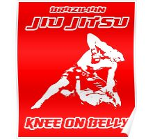 Brazilian Jiu Jitsu Knee On Belly Red  Poster