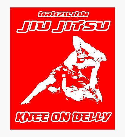 Brazilian Jiu Jitsu Knee On Belly Red  Photographic Print