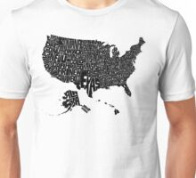 USA States Black Unisex T-Shirt