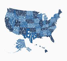 USA States Blue Baby Tee