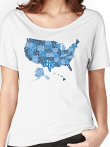 USA States Blue Women's Relaxed Fit T-Shirt