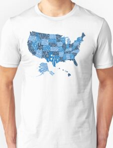 USA States Blue T-Shirt