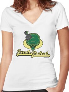 Fresh Picked Broccoli Women's Fitted V-Neck T-Shirt