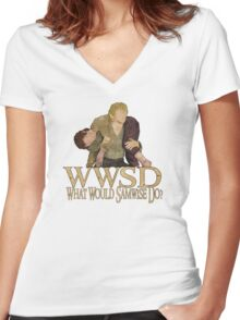 WWSD - What Would Samwise Do? Women's Fitted V-Neck T-Shirt