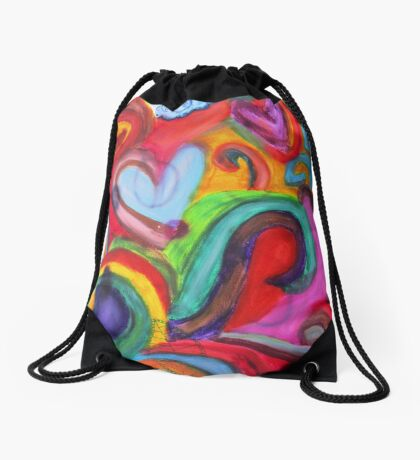 Mixed Media Love Drawstring Bag