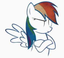 RainbowDash: Not amused Outline Kids Tee
