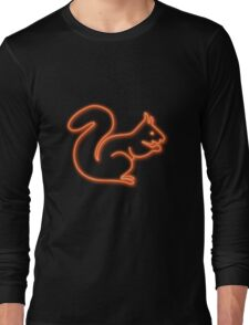 Neon squirrel hot orange Long Sleeve T-Shirt